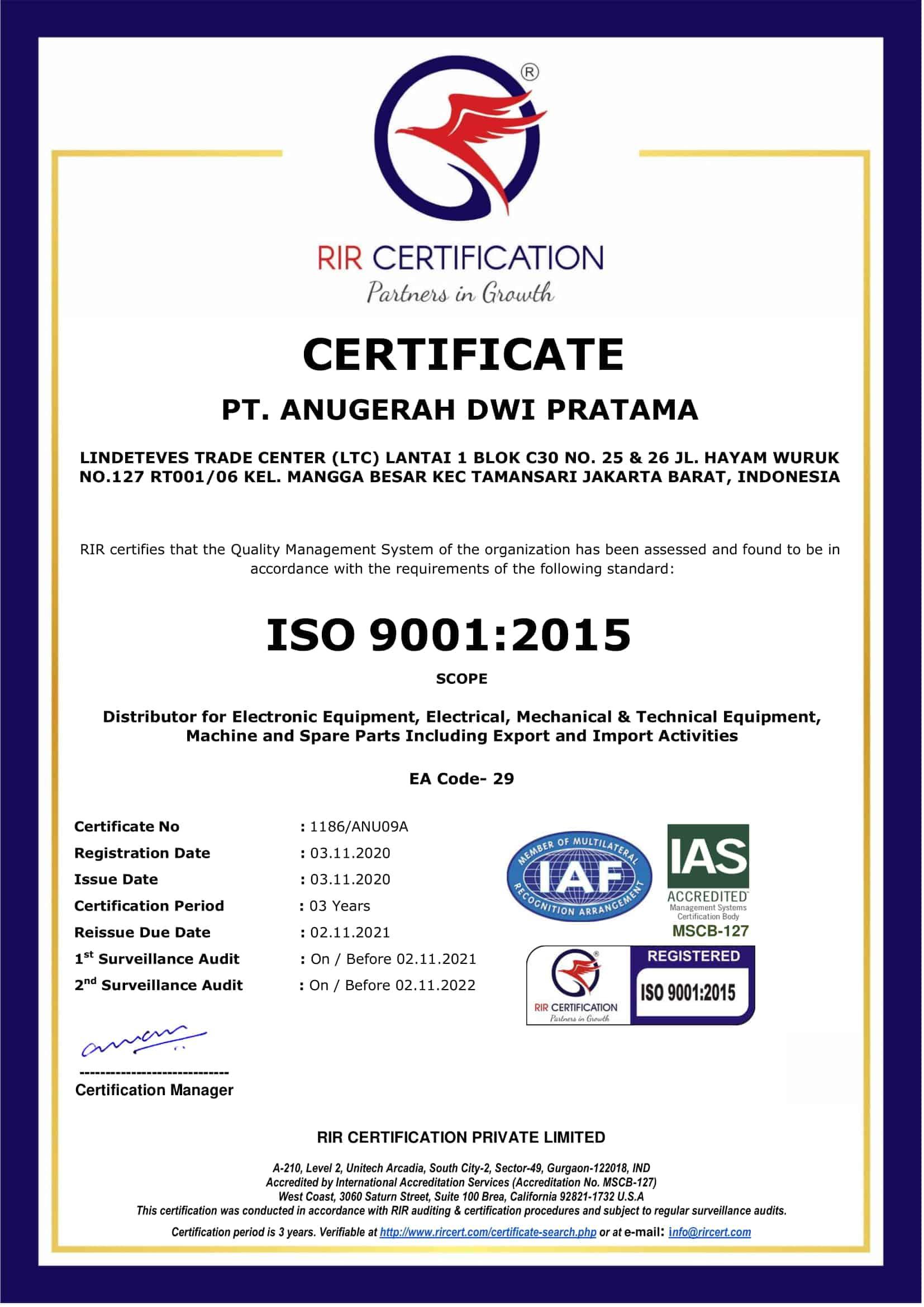 PT Anugerah Dwi Pratama ISO Sertifikat